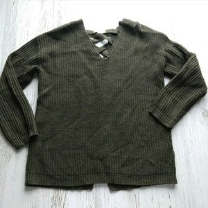 Altar'd State Sweater Army Green Lace Up Back